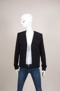Balenciaga Balenciaga Black Collarless Open Front Long Sleeve Blazer