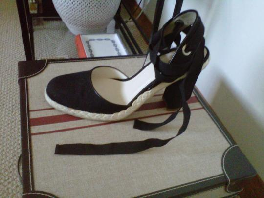 Marc Jacobs Linen Fabric Wraparound Tie Ribbon Made In Italy Black Platforms
