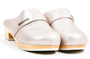 Chanel Cracked Leather Metallic Wood Platform Heeled Silver Mules