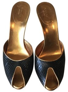 Gucci Snakeskin Peep Studded Black and Gold Mules