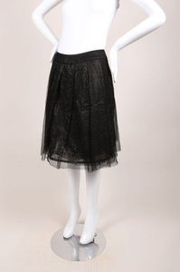 Chanel Black Silk Mesh Metallic Pleated A Line Skirt