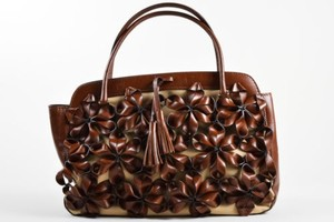 Valentino Beige Canvas Leather Flower Embellished Tote in Brown