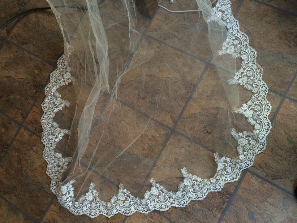Wedding Veil Champagne Bridal Veil Cathedral Lace Veil Mantilla Beaded