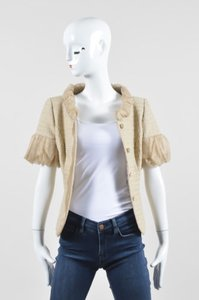 Escada Escada Beige Tan Cotton Silk Woven Tweed Organza Trim Ss Blazer Jacket