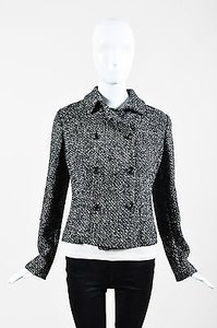 Piazza Sempione Black White Wool Tweed Double Breasted Tailored Gray Jacket