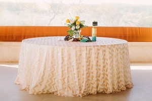 Champagne Chevron Pattern Sequin Tablecloth Overlay