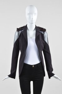 Akris Eggplant Wool Embellished Purple Jacket