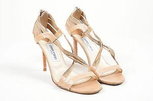 Jimmy Choo Foundation Nude Snakeskin Leather High Heel Cat Beige Sandals