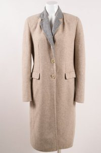 Piazza Sempione Gray Wool Mohair Button Down Long Coat Beige Jacket