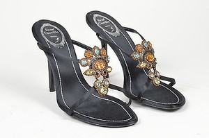 Rene Caovilla Black Satin Beaded Sandal Heels Multi-Color Mules