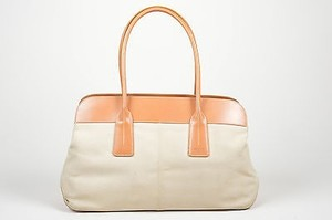 Tod's Tan Leather Canvas Top Handle Tote in Beige