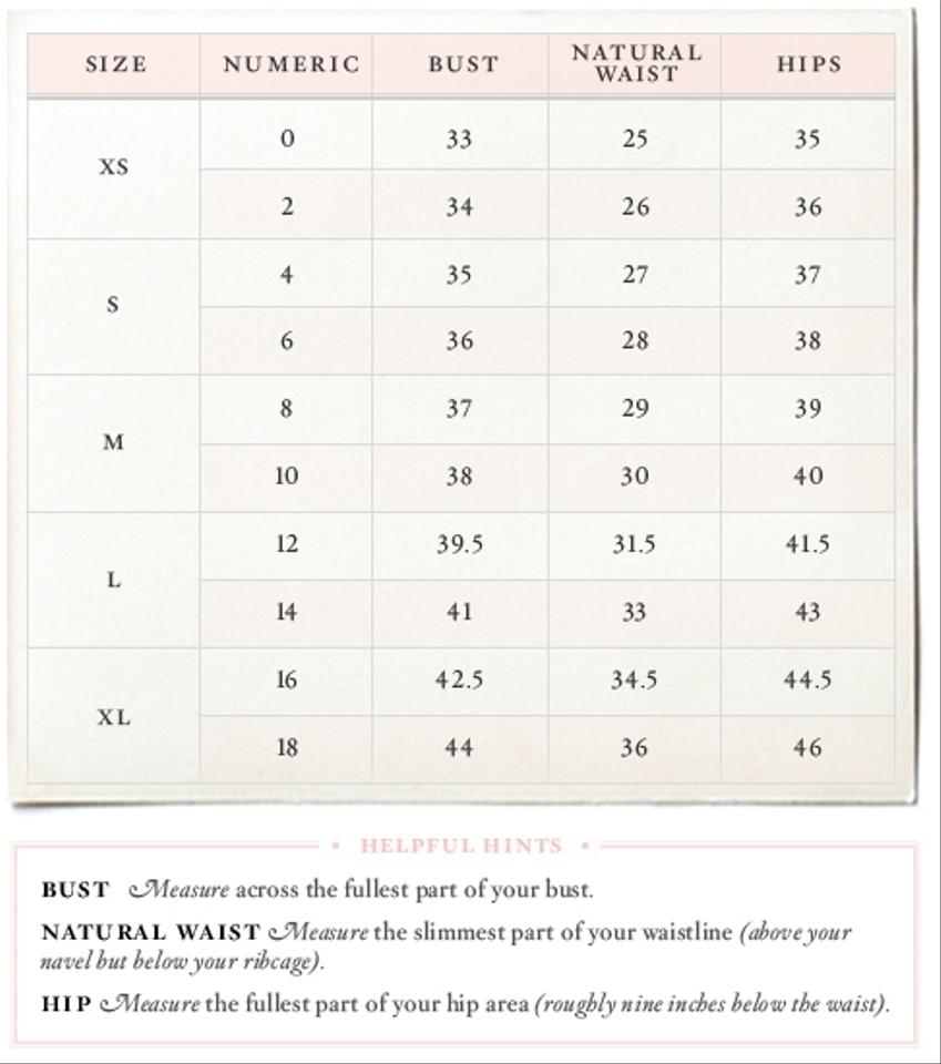 Anthropologie size chart petite petite fit guide for Wedding dress size guide