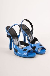 Rochas Blue Cracked Patent Sandals