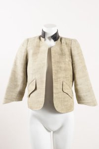 Smythe Black Linen Leather Collar Cropped Beige Jacket
