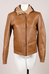 Prada Brown Leather Hood Button Down Jacket