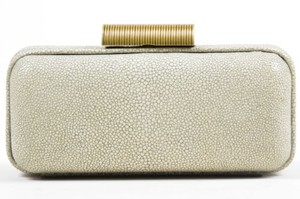 Kooba Gray Metallic Sueded Rectangular Chain Strap Cream Clutch