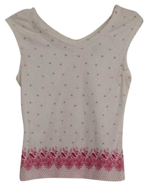 Ann Taylor LOFT T Shirt White & Hot Pink