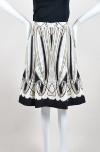 Blumarine Black White Cotton Skirt Multi-Color