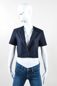 The Row Navy Cotton Stitched Short Sleeve Lero Cropped Blue Jacket
