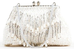 Other Vintage Beaded Sequin Evening White Clutch