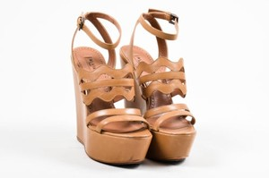 ALAÏA Alaia Leather Strappy Platform Wedge tan Sandals