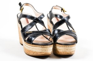 Prada Sport Leather Black Sandals