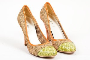 Prada Tan Orange Woven Tan, Orange, Green Pumps