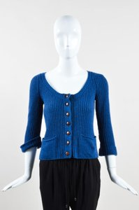 Chloé Chloe Knit Wool Cashmere Buttoned Quarter Sleeve Cardigan Sweater