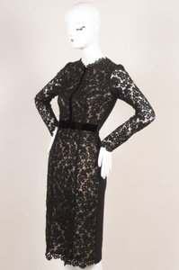 ERDEM Nude Eyelet Lace Velvet Trim Cherise Dress