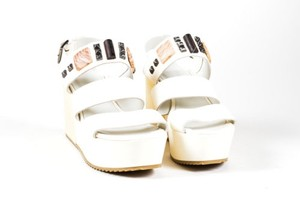 Vic Leather Studded White Sandals