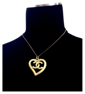 Chanel Chanel Antique Gold Logo Heart Pendant