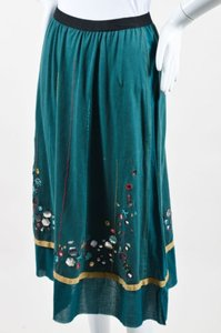A Common Thread Multicolor Knit Stripe Embroidered Mirrored Skirt Green