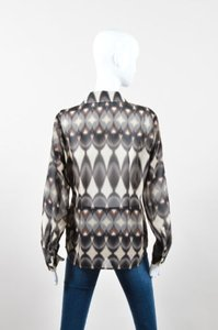 ecru Cream Black Brown Top Multi-Color