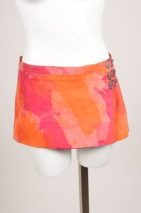 Chrome Hearts Chrome Pink Orange Abstract Flower Print Suede Wrap Mini Skirt