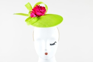 Philip Treacy Philip Treacy Neon Green Rhinestone Rose Bow Embellished Fascinator Hat