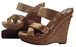 Dollhouse Woven Gold Wedges