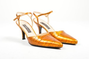 Casadei Bronze Reptile Orange Pumps