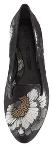 Alexander McQueen Loafers Silk Embroidery Floral black/gray Flats