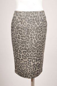 Charles Chang Lima Beige Dark Brown Leopard Print Pencil Skirt