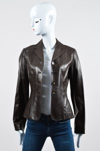 Céline Lambskin Leather Blazer Brown Jacket