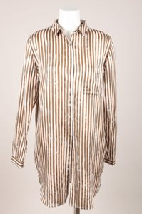 Other Pomandere Brown Cream Stripe Wool Silk Button Up Blouse Tunic