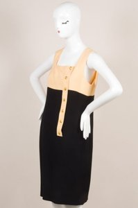 Chanel Vintage Boutique Peach Front Button Sl Square Neck Sheath Dress