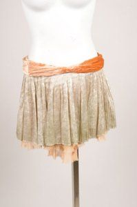 Louis Vuitton Gold Peach Velvet Metallic Mini Mini Skirt