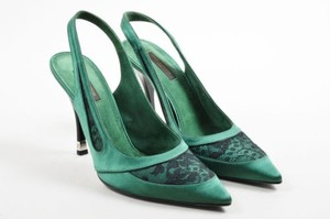 Louis Vuitton Black Lace Satin Pointed Toe Slingback Green Pumps