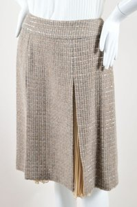 Chanel 00a Gray Tweed Panel Accordion Pleated Silk A Line Skirt Beige