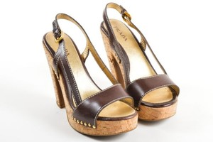 Prada Leather Cork Brown Sandals