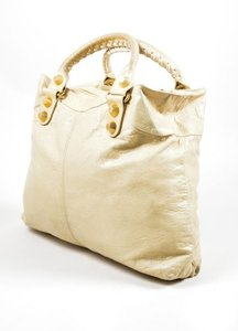 Balenciaga Gold Tone Leather Motocross Giant Brief Handbag Satchel in Beige