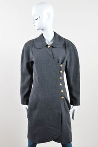 Chanel Gold Tone Wool Cc Button Wrap Knee Length Gray Jacket
