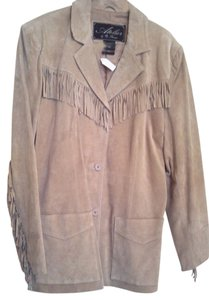 B, Thomas Suede beige Leather Jacket