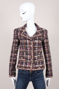 Chanel 05a Multicolor Checkered Wool Blend Tweed Ls Buttoned Jacket